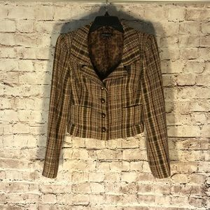David Meister Silk Tweed Cropped Blazer Jacket